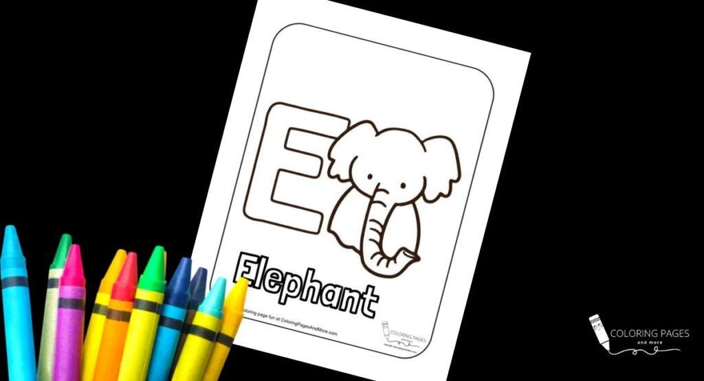 Letter E Elephant Alphabet Coloring Page