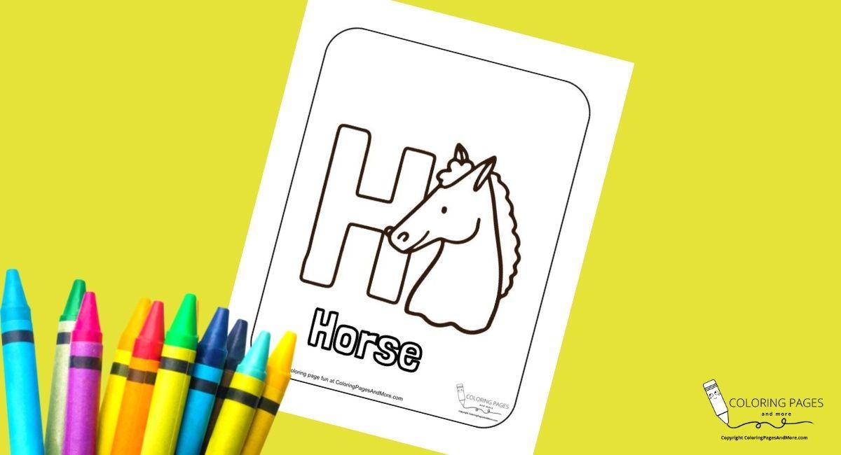 Letter H – Horse Alphabet Coloring Page