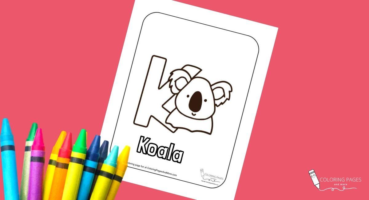 Letter K – Koala Alphabet Coloring Page