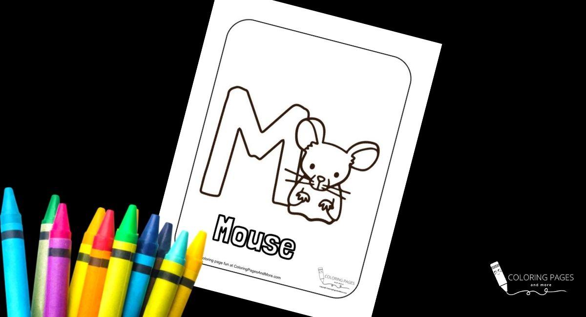 Letter M – Mouse Alphabet Coloring Page