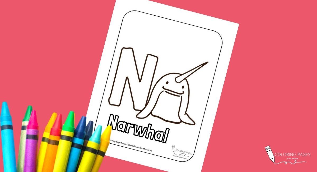 Letter N – Narwhal Alphabet Coloring Page