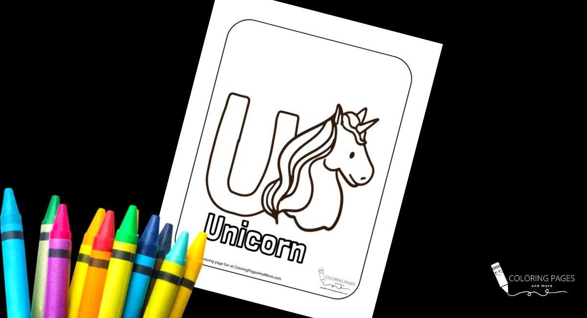 Letter U – Unicorn Alphabet Coloring Page