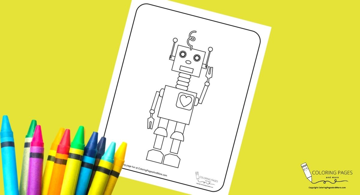 Sweet Heart Robot Coloring Page