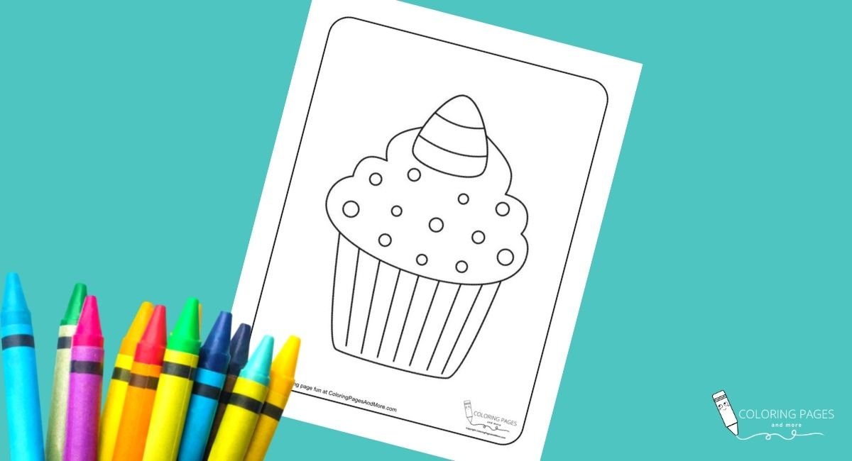 Candy Corn Cupcake Coloring Page