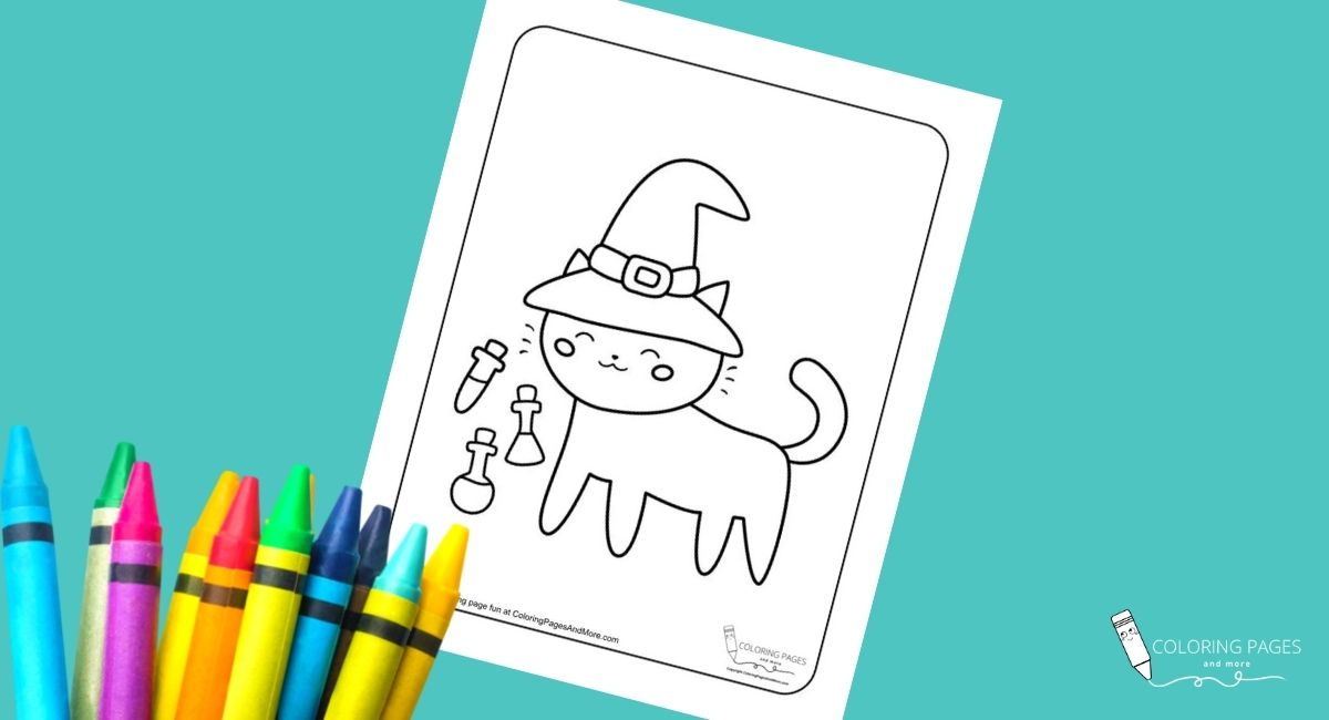 Halloween Cat in Hat Coloring Page