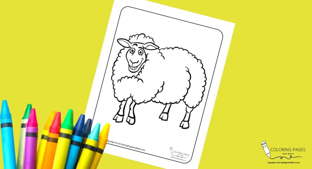Grinning Sheep Coloring Page