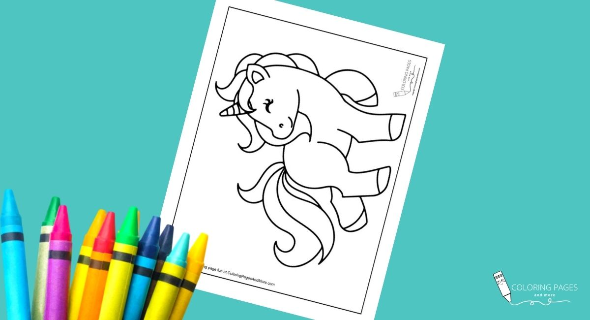 Smiling Unicorn Coloring Page