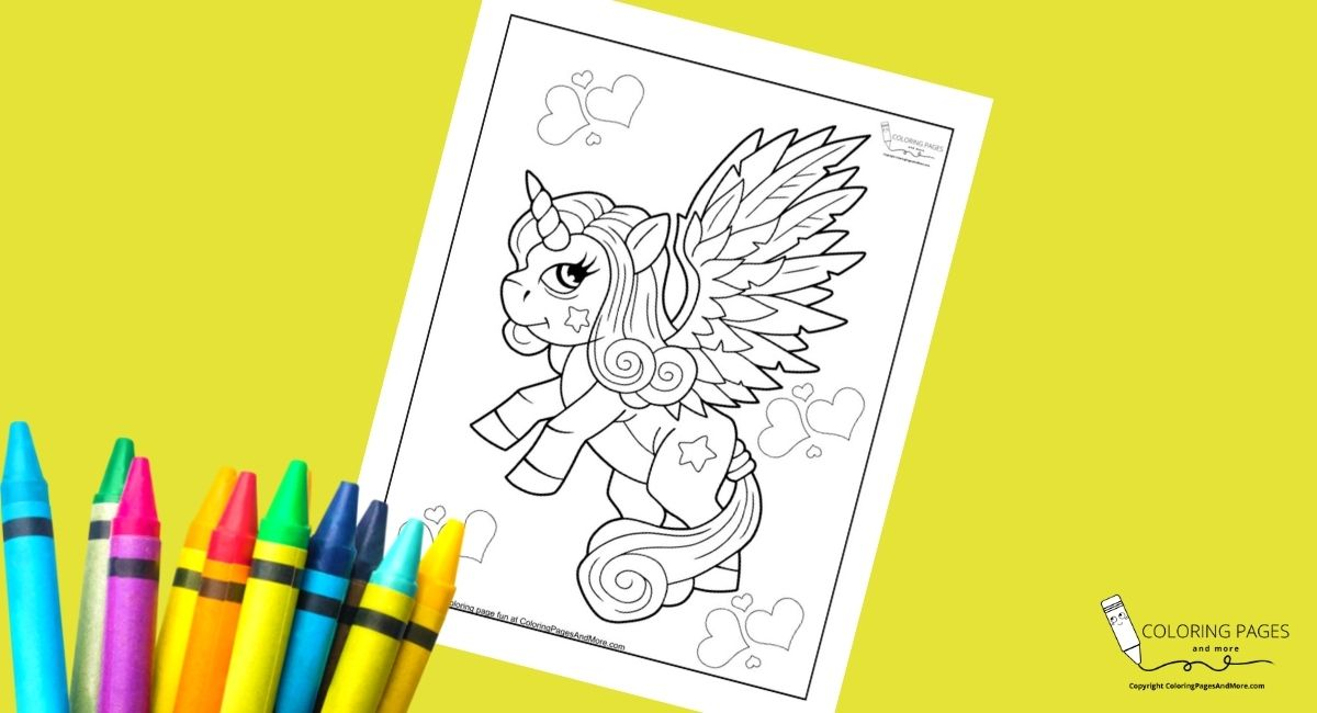 Unicorn with Big Wings Coloring Page