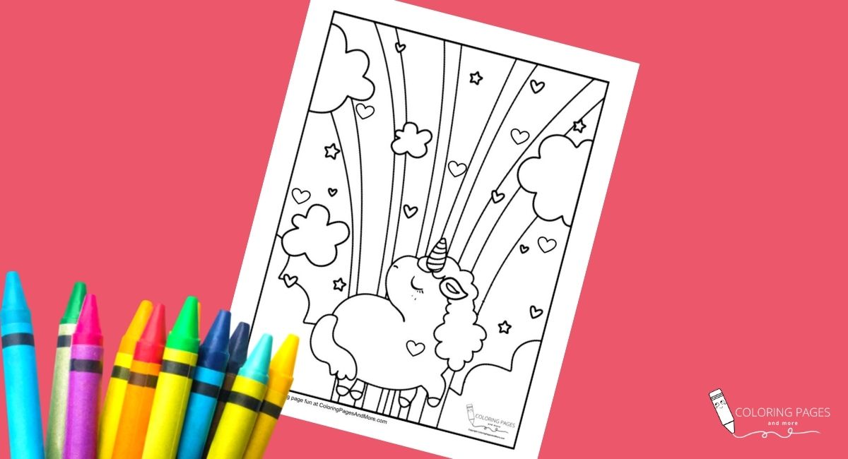 Rainbows and Hearts Unicorn Coloring Page
