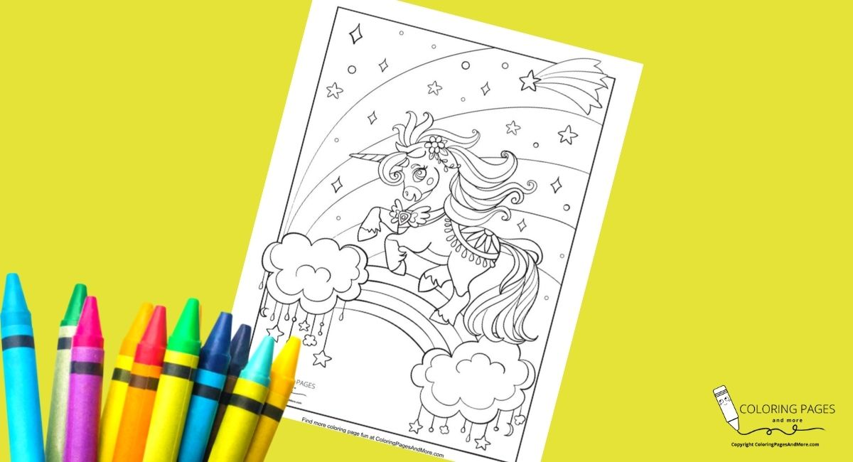 Fancy Unicorn on a Rainbow Coloring Page