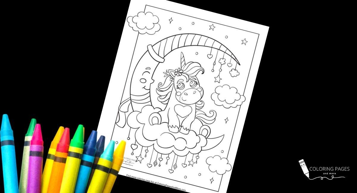 Sleepy Unicorn Coloring Page