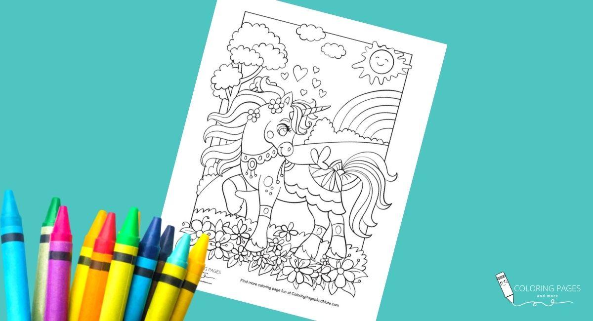 Pretty Spring Unicorn Coloring Page