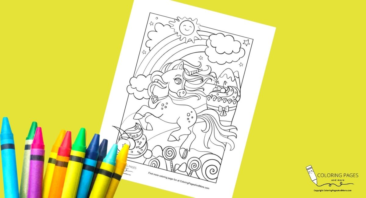 Candy Land Unicorn Coloring Page