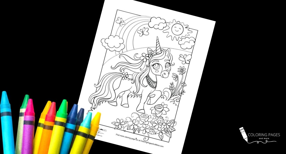 Summer Garden Unicorn Coloring Page