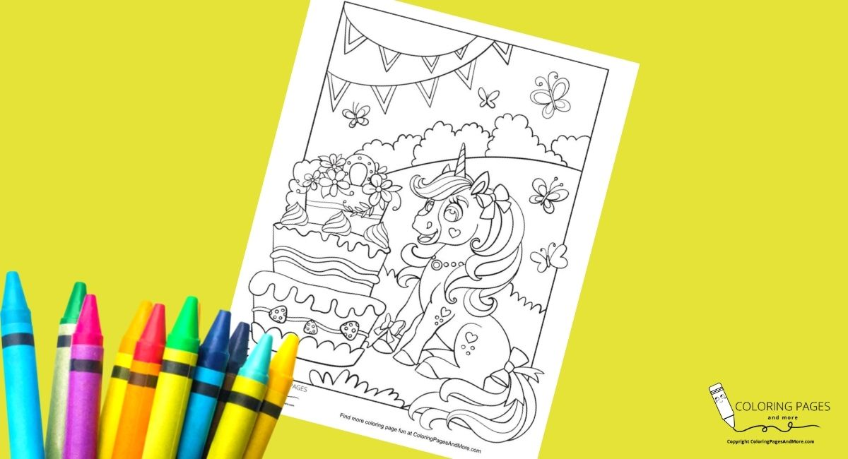 Happy Birthday Unicorn Coloring Page