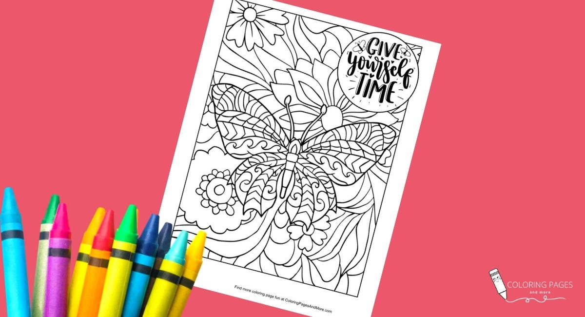 Give Yourself Time Butterfly Coloring Page