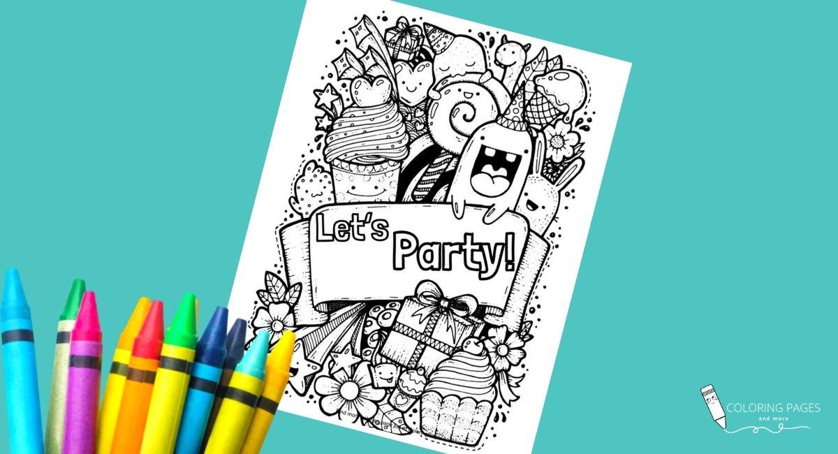 Let's Party Doodle Coloring Page