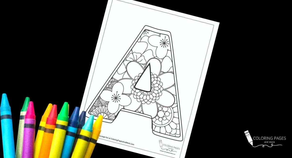 Floral A Alphabet Coloring Page