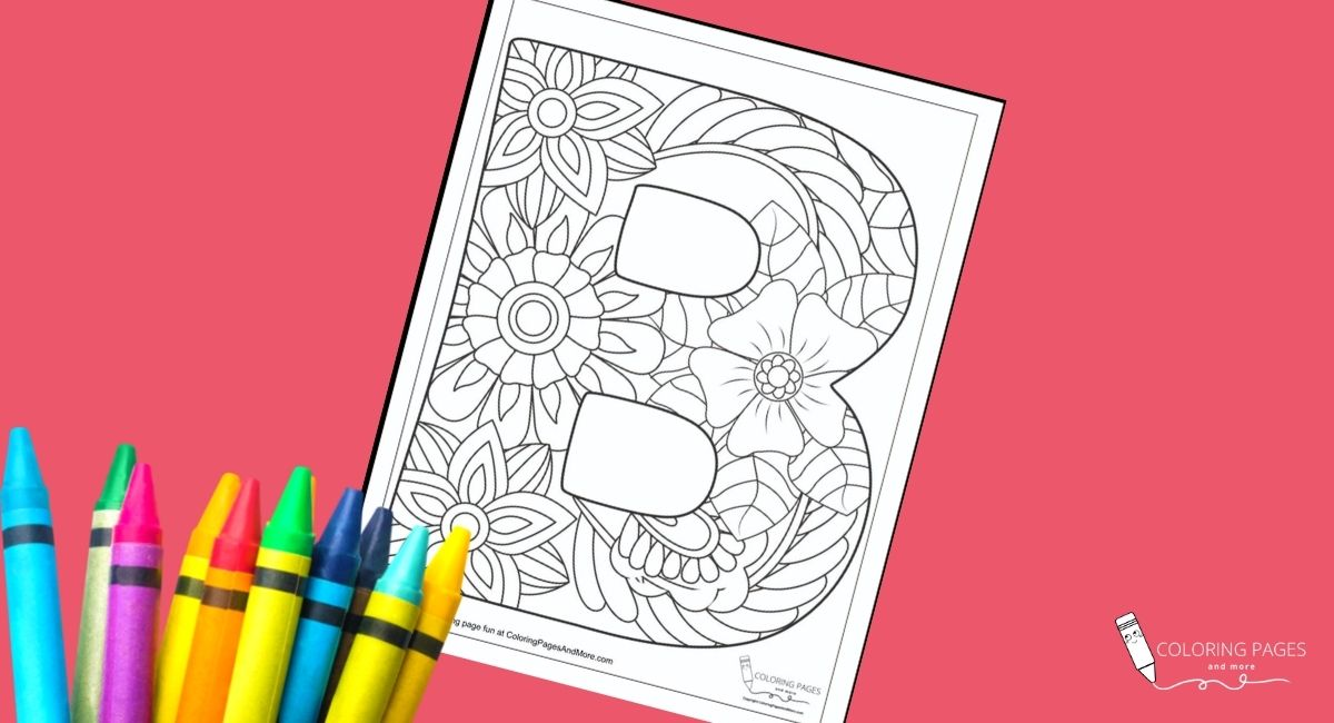 Floral B Alphabet Coloring Page