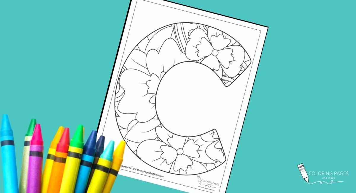 Floral C Alphabet Coloring Page