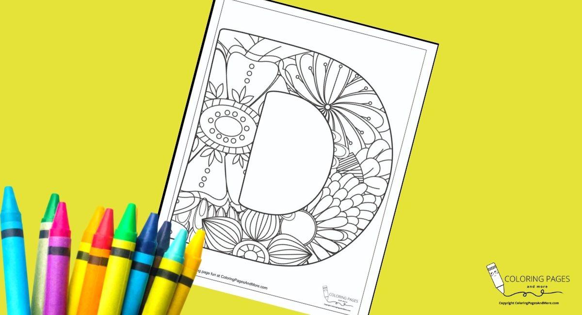Floral D Alphabet Coloring Page