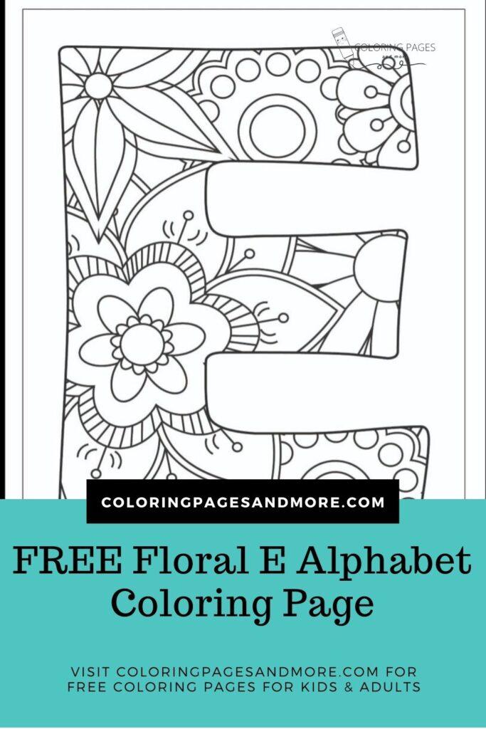 Floral E Alphabet Coloring Page
