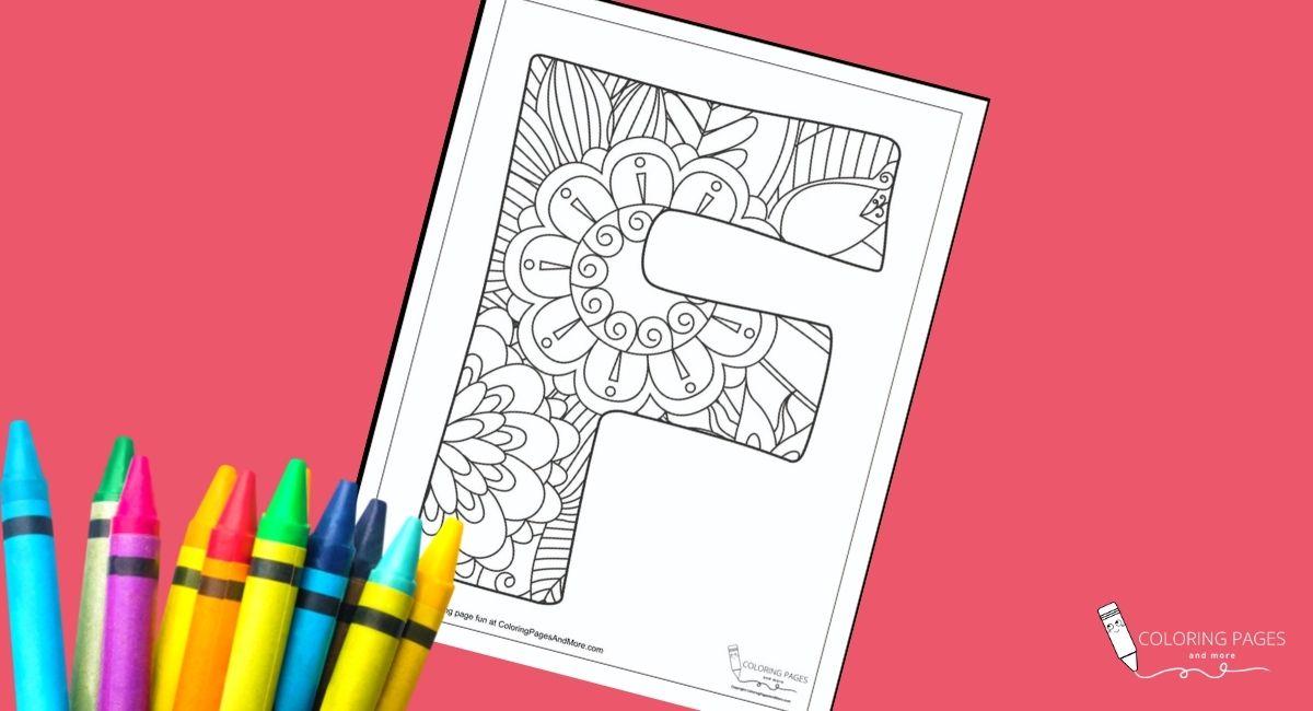 Floral F Alphabet Coloring Page