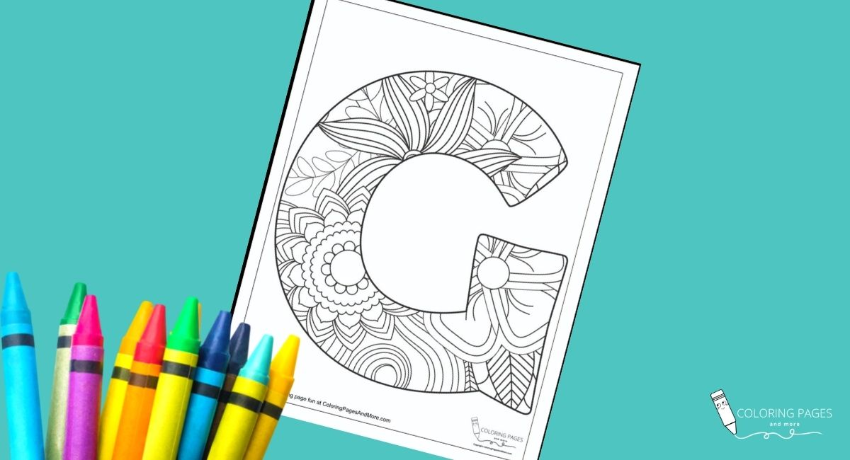 Floral G Alphabet Coloring Page