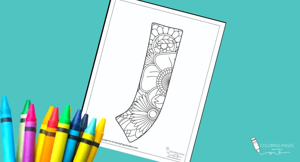 Floral J Alphabet Coloring Page
