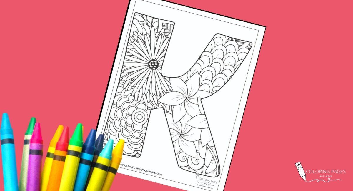 Floral K Alphabet Coloring Page