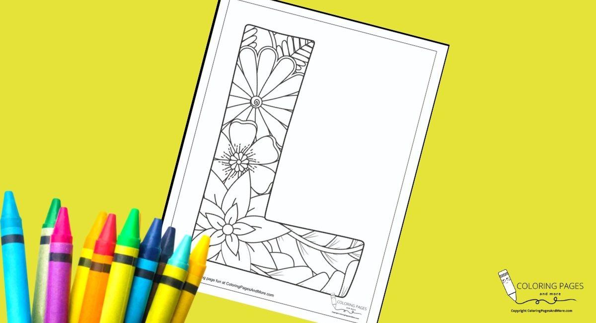 Floral L Alphabet Coloring Page