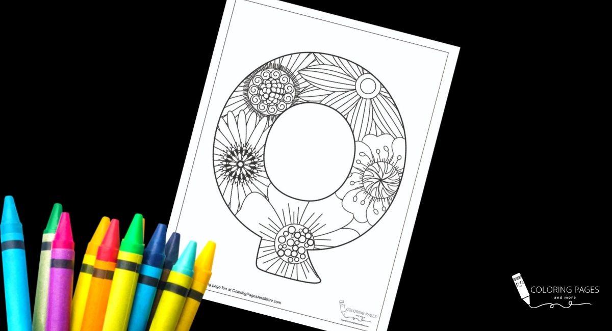 Floral Q Alphabet Coloring Page