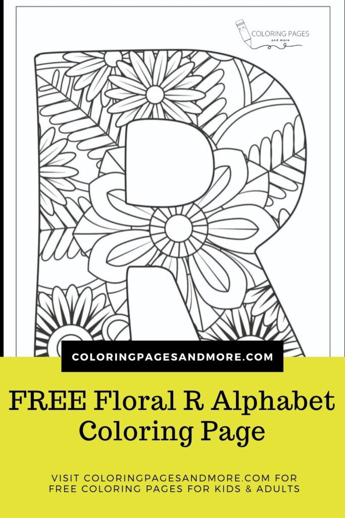Floral R Alphabet Coloring Page