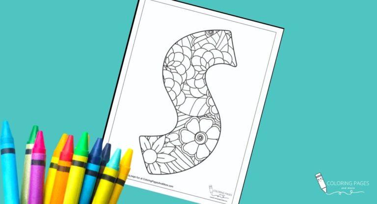 Floral S Alphabet Coloring Page