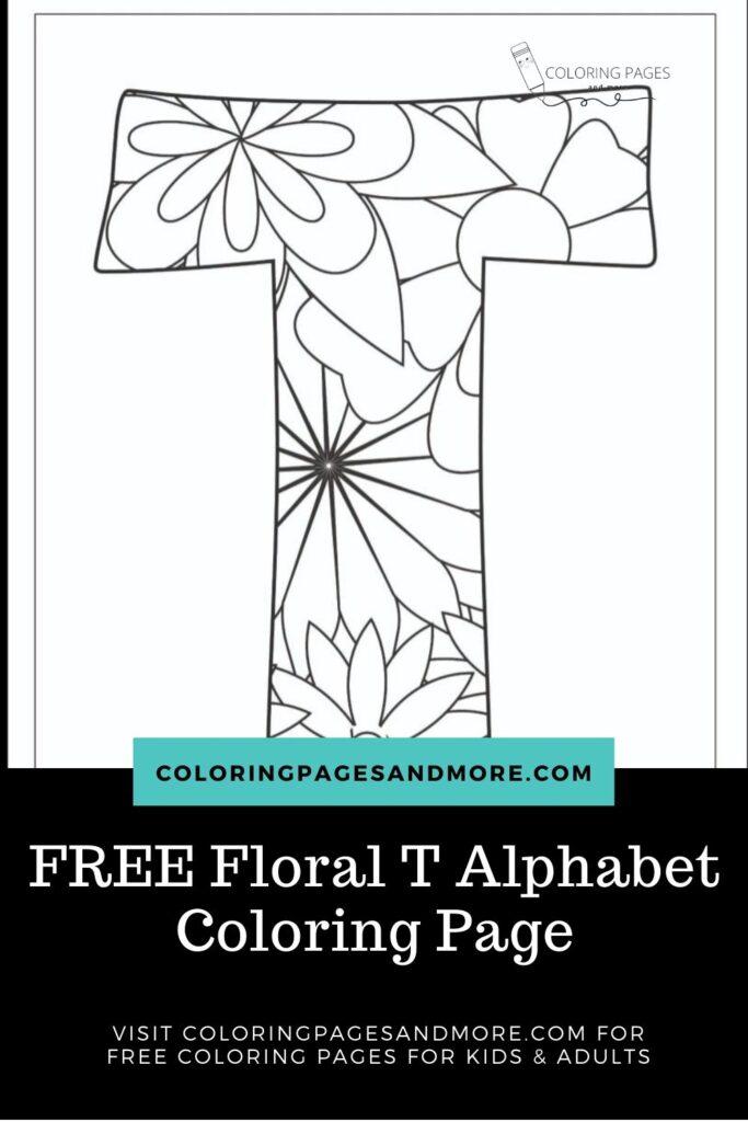 Floral T Alphabet Coloring Page
