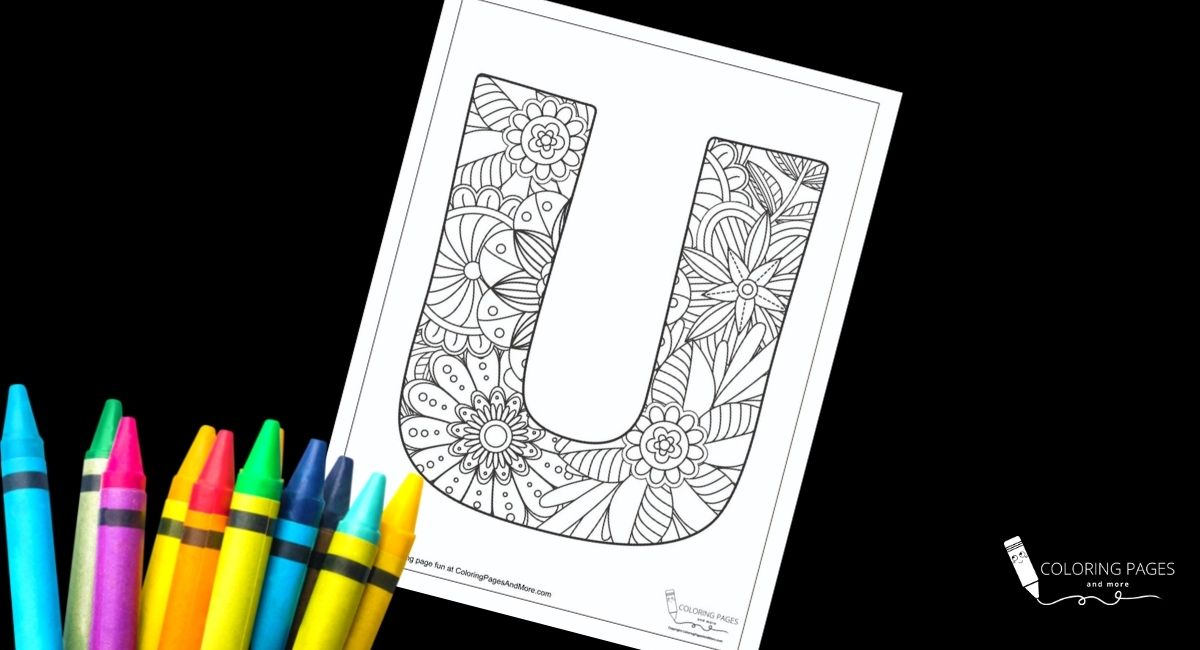 Floral U Alphabet Coloring Page