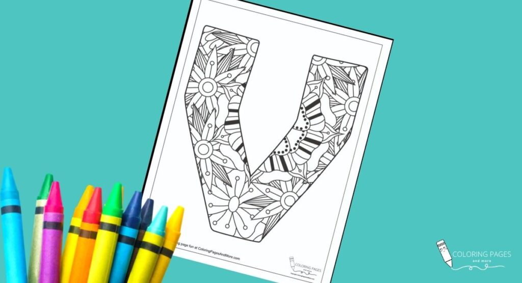 Floral V Alphabet Coloring Page