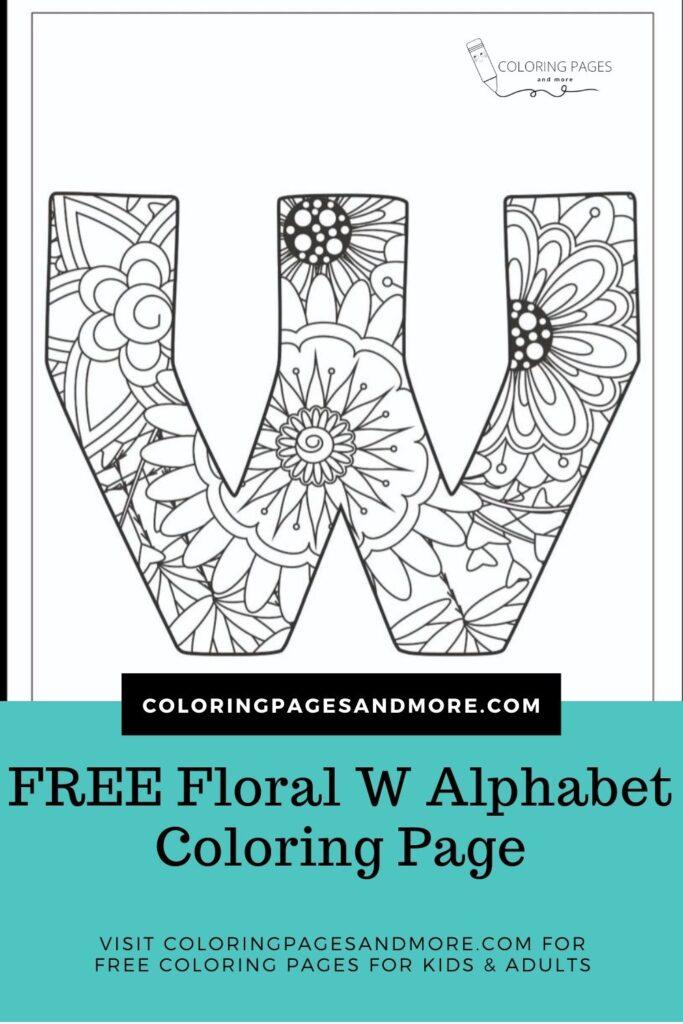 Floral W Alphabet Coloring Page