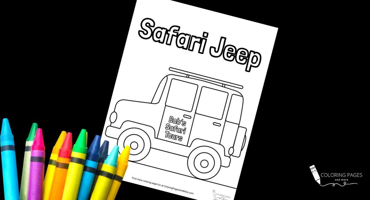 Safari Jeep Coloring Page