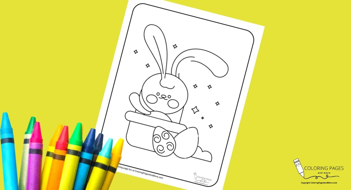 Bunny and Eggs Easter Coloring Page