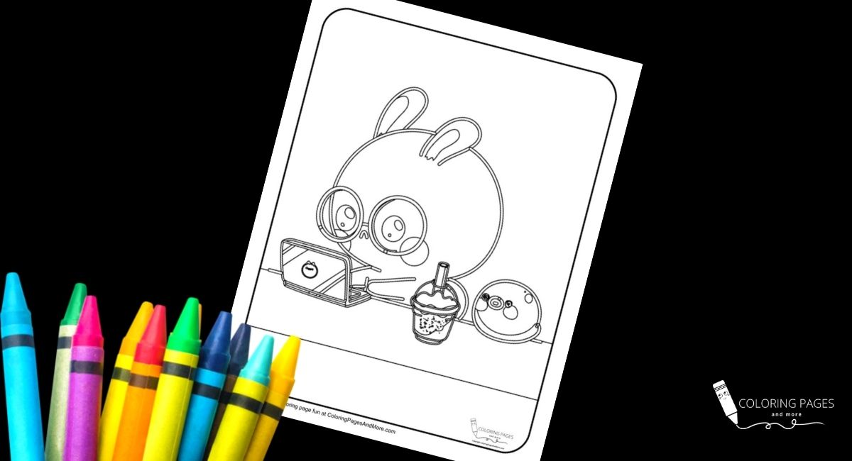 Study Bunny Coloring Page