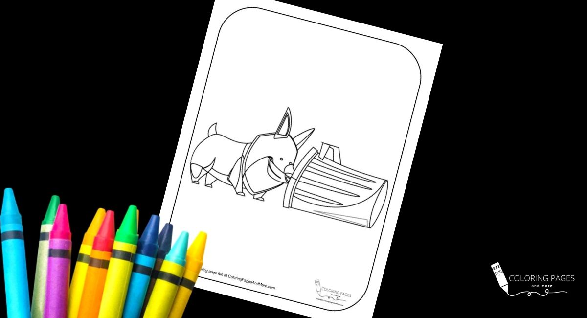 Dog in the Trash Coloring Page