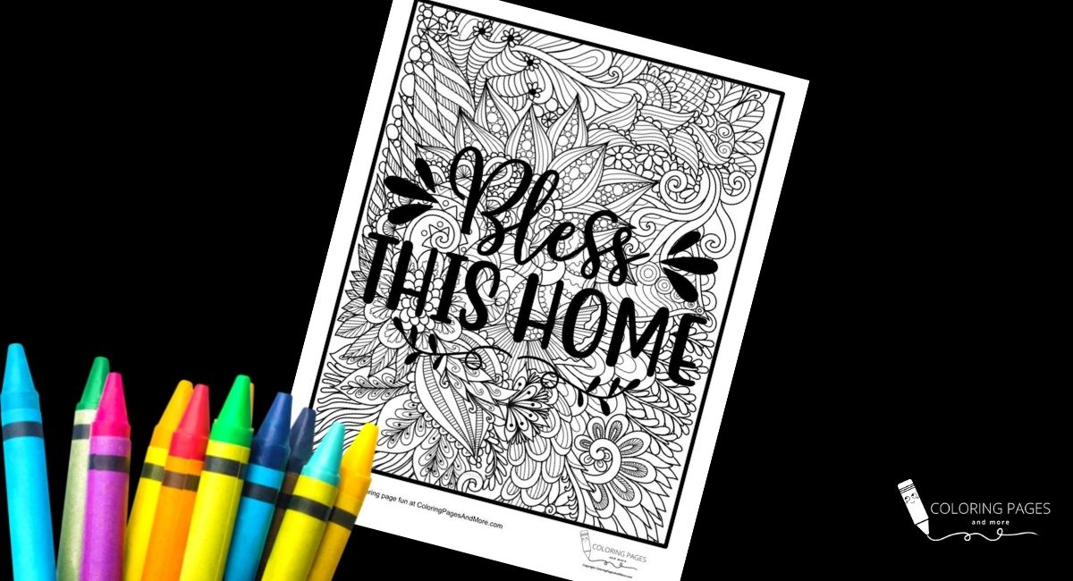Bless This Home Inspirational Coloring Page