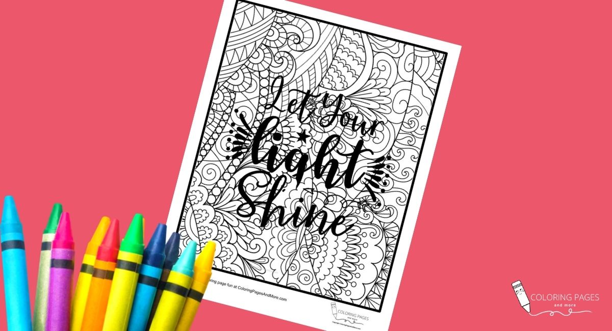 Let Your Light Shine Inspirational Coloring Page