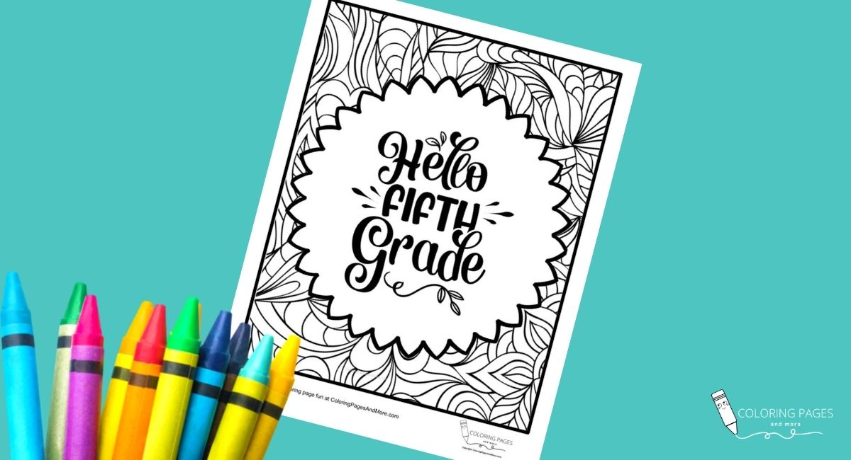 Hello Fifth Grade Coloring Page