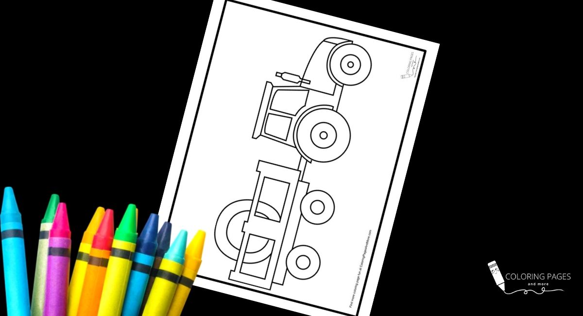 Tractor with Hay Coloring Page